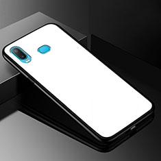 Coque Rebord Contour Silicone et Vitre Miroir Housse Etui pour Samsung Galaxy A6s Blanc