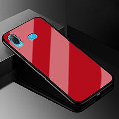 Coque Rebord Contour Silicone et Vitre Miroir Housse Etui pour Samsung Galaxy A6s Rouge