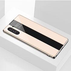 Coque Rebord Contour Silicone et Vitre Miroir Housse Etui pour Samsung Galaxy Note 10 Or