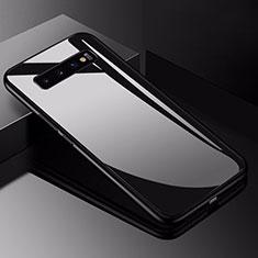Coque Rebord Contour Silicone et Vitre Miroir Housse Etui pour Samsung Galaxy S10 5G Noir