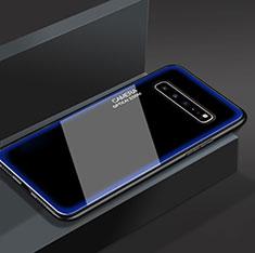 Coque Rebord Contour Silicone et Vitre Miroir Housse Etui pour Samsung Galaxy S10 5G SM-G977B Bleu