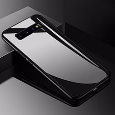 Coque Rebord Contour Silicone et Vitre Miroir Housse Etui pour Samsung Galaxy S10 Noir