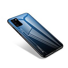 Coque Rebord Contour Silicone et Vitre Miroir Housse Etui pour Samsung Galaxy S20 FE 4G Bleu