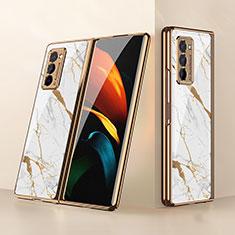 Coque Rebord Contour Silicone et Vitre Miroir Housse Etui pour Samsung Galaxy Z Fold2 5G Blanc