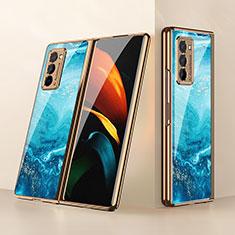 Coque Rebord Contour Silicone et Vitre Miroir Housse Etui pour Samsung Galaxy Z Fold2 5G Bleu Ciel