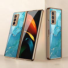 Coque Rebord Contour Silicone et Vitre Miroir Housse Etui pour Samsung Galaxy Z Fold2 5G Cyan