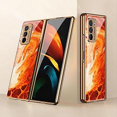Coque Rebord Contour Silicone et Vitre Miroir Housse Etui pour Samsung Galaxy Z Fold2 5G Orange
