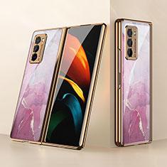 Coque Rebord Contour Silicone et Vitre Miroir Housse Etui pour Samsung Galaxy Z Fold2 5G Rose