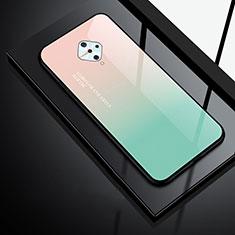 Coque Rebord Contour Silicone et Vitre Miroir Housse Etui pour Vivo S1 Pro Vert