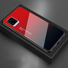 Coque Rebord Contour Silicone et Vitre Miroir Housse Etui pour Vivo V20 Rouge