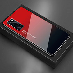 Coque Rebord Contour Silicone et Vitre Miroir Housse Etui pour Vivo V20 SE Rouge