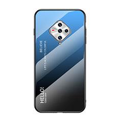 Coque Rebord Contour Silicone et Vitre Miroir Housse Etui pour Vivo X50e 5G Bleu