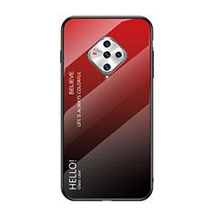 Coque Rebord Contour Silicone et Vitre Miroir Housse Etui pour Vivo X50e 5G Rouge