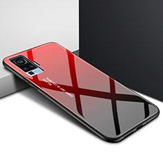 Coque Rebord Contour Silicone et Vitre Miroir Housse Etui pour Vivo X51 5G Rouge