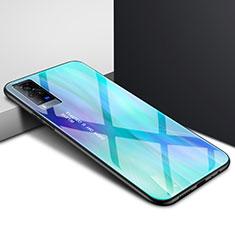 Coque Rebord Contour Silicone et Vitre Miroir Housse Etui pour Vivo X60 Pro 5G Cyan