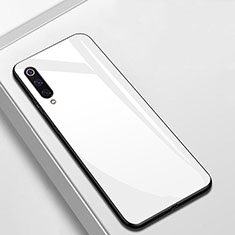 Coque Rebord Contour Silicone et Vitre Miroir Housse Etui pour Xiaomi CC9e Blanc