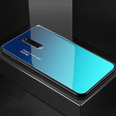 Coque Rebord Contour Silicone et Vitre Miroir Housse Etui pour Xiaomi Mi 9T Pro Bleu