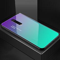 Coque Rebord Contour Silicone et Vitre Miroir Housse Etui pour Xiaomi Mi 9T Pro Cyan