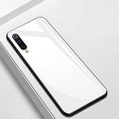 Coque Rebord Contour Silicone et Vitre Miroir Housse Etui pour Xiaomi Mi A3 Blanc
