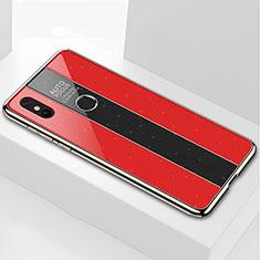 Coque Rebord Contour Silicone et Vitre Miroir Housse Etui pour Xiaomi Mi Max 3 Rouge