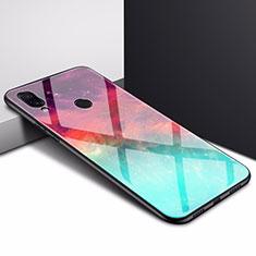 Coque Rebord Contour Silicone et Vitre Miroir Housse Etui pour Xiaomi Redmi 7 Cyan