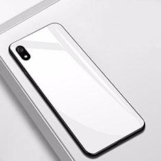 Coque Rebord Contour Silicone et Vitre Miroir Housse Etui pour Xiaomi Redmi 7A Blanc