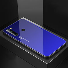 Coque Rebord Contour Silicone et Vitre Miroir Housse Etui pour Xiaomi Redmi Note 8T Bleu