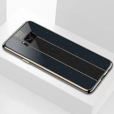 Coque Rebord Contour Silicone et Vitre Miroir Housse Etui S01 pour Samsung Galaxy S8 Plus Noir