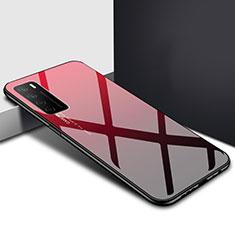 Coque Rebord Contour Silicone et Vitre Miroir Housse Etui T01 pour Huawei Honor Play4 5G Rouge