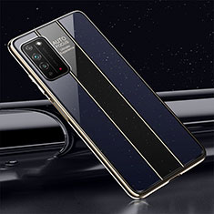Coque Rebord Contour Silicone et Vitre Miroir Housse Etui T01 pour Huawei Honor X10 5G Bleu
