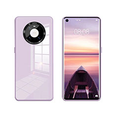 Coque Rebord Contour Silicone et Vitre Miroir Housse Etui T01 pour Huawei Mate 40 Violet Clair