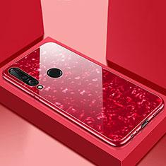 Coque Rebord Contour Silicone et Vitre Miroir Housse Etui T01 pour Huawei P30 Lite Rouge