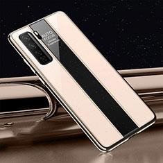 Coque Rebord Contour Silicone et Vitre Miroir Housse Etui T01 pour Huawei P40 Lite 5G Or