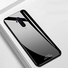Coque Rebord Contour Silicone et Vitre Miroir Housse Etui T01 pour OnePlus 7T Pro Noir