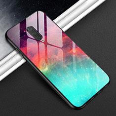 Coque Rebord Contour Silicone et Vitre Miroir Housse Etui T01 pour OnePlus 8 Cyan