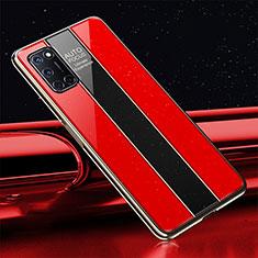 Coque Rebord Contour Silicone et Vitre Miroir Housse Etui T01 pour Oppo A92 Rouge