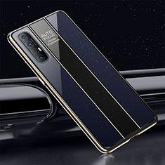 Coque Rebord Contour Silicone et Vitre Miroir Housse Etui T01 pour Oppo Find X2 Neo Bleu