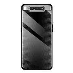 Coque Rebord Contour Silicone et Vitre Miroir Housse Etui T01 pour Samsung Galaxy A80 Noir