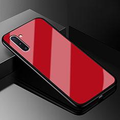 Coque Rebord Contour Silicone et Vitre Miroir Housse Etui T01 pour Samsung Galaxy Note 10 5G Rouge