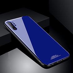 Coque Rebord Contour Silicone et Vitre Miroir Housse Etui T01 pour Samsung Galaxy Note 10 Plus 5G Bleu