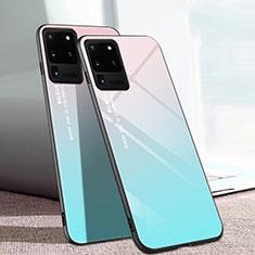 Coque Rebord Contour Silicone et Vitre Miroir Housse Etui T01 pour Samsung Galaxy S20 Ultra 5G Cyan