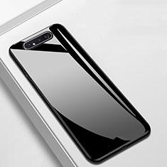Coque Rebord Contour Silicone et Vitre Miroir Housse Etui T02 pour Samsung Galaxy A80 Noir