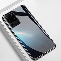 Coque Rebord Contour Silicone et Vitre Miroir Housse Etui T02 pour Samsung Galaxy S20 Ultra 5G Noir