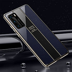 Coque Rebord Contour Silicone et Vitre Miroir Housse Etui T03 pour Huawei P40 Bleu