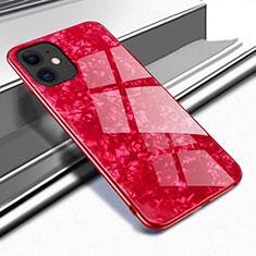 Coque Rebord Contour Silicone et Vitre Miroir Housse Etui T04 pour Apple iPhone 11 Rouge