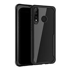 Coque Rebord Contour Silicone et Vitre Miroir Housse Etui Z01 pour Huawei P30 Lite Noir