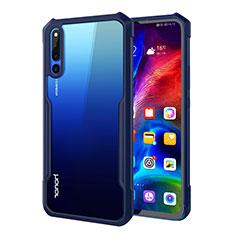 Coque Rebord Contour Silicone et Vitre Transparente Miroir Housse Etui A01 pour Huawei Honor Magic 2 Bleu