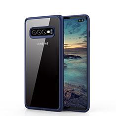 Coque Rebord Contour Silicone et Vitre Transparente Miroir Housse Etui A02 pour Samsung Galaxy S10 Plus Bleu