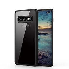 Coque Rebord Contour Silicone et Vitre Transparente Miroir Housse Etui A02 pour Samsung Galaxy S10 Plus Noir