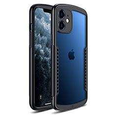 Coque Rebord Contour Silicone et Vitre Transparente Miroir Housse Etui H01 pour Apple iPhone 12 Noir